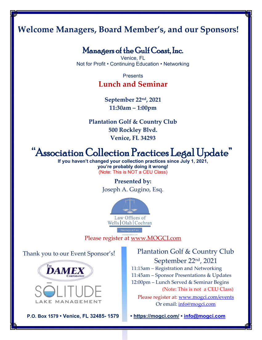 Lunch and CEU Class March 25th Information Flyer